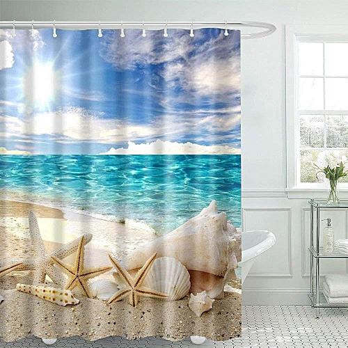 Generic Sunshine Beach Starfish Seashell Bathroom Washroom Shower Curtain With 12 Hooks