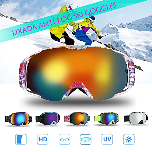 Lixada Adult Ski Goggles Winter Snow Sports Snowboard Goggles Ventilated  Anti-fog Spherical Dual Lens for Snowmobile Skiing Skating