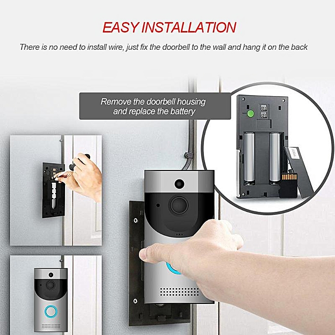 WIFI Video doorbell camera intercom system wireless home ip door bell phone  chime w/ PIR Full Duplex iOS Android battery powered BELLA