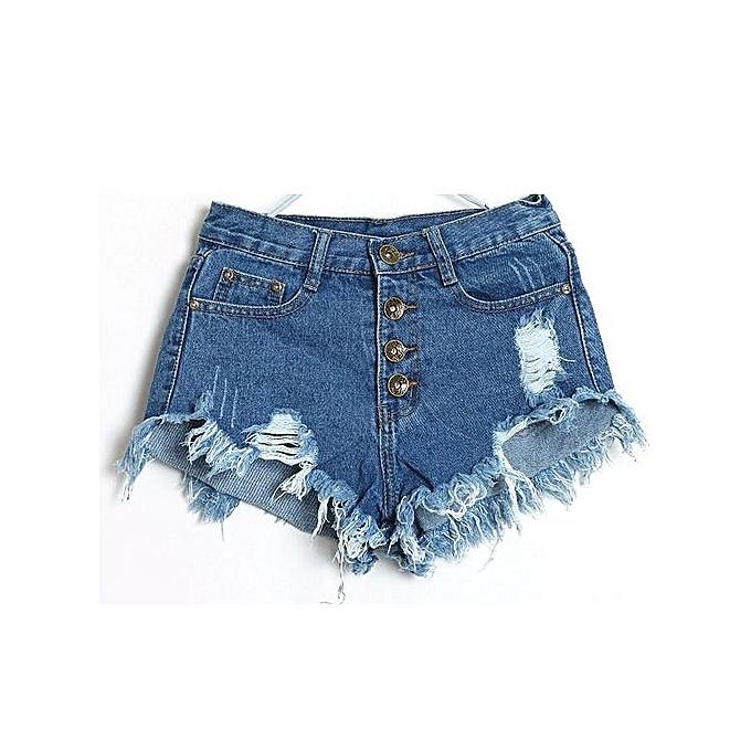 fb713e9a67c 1PC Women Vintage High Waist Jeans Hole Short Jeans Denim Shorts Dark Blue