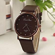 Fashion Women's Diamond Leatheroid Band Round Dial Quartz Wrist Watch-Coffee