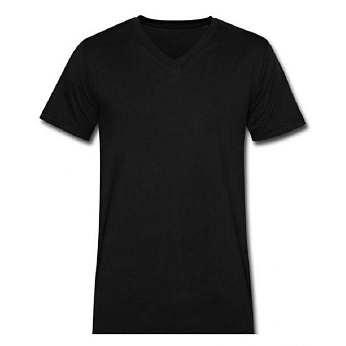 Generic Plain Black V-Neck T-Shirt | Buy online | Jumia Kenya