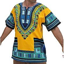 YELLOW/BLUE AFRICAN DASHIKI SHIRT