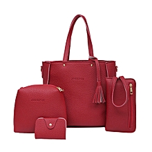 singedanFour Set Handbag Shoulder Bags Four Pieces Tote Bag Crossbody Wallet Bags  RD -Red