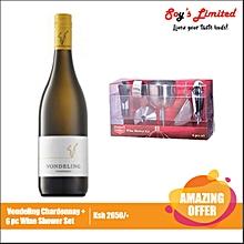 Chardonnay + 6Pc Wine Shower Set