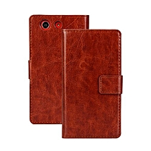 PU Leather Wallet Case Cover For Sony Xperia Z3 Compact(Brown)