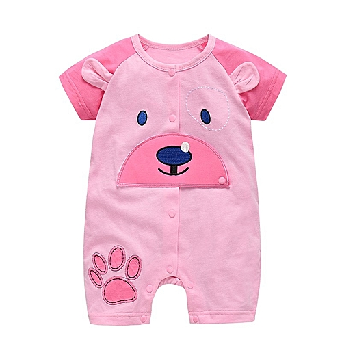 efe6e12574b Generic 2018 New pattern baby girl clothes boy rompers summer short sleeve toddler  infant jumpsuit clothing (0-18 months)-shallow pink