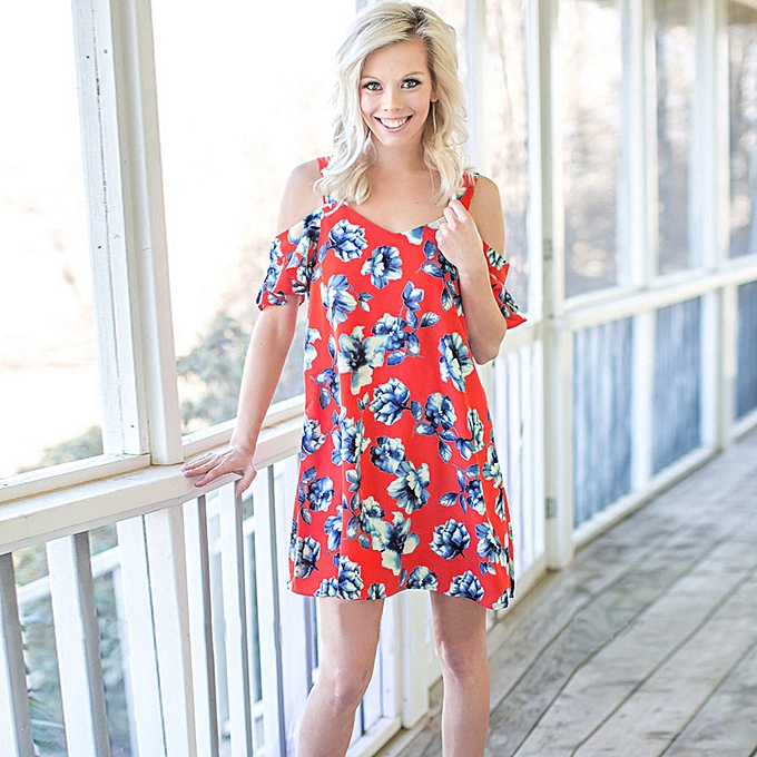 f8f77b94894 paidndh store Summer Women Red Floral Printed Off Shoulder Party Evening Short  Mini Dress-Red