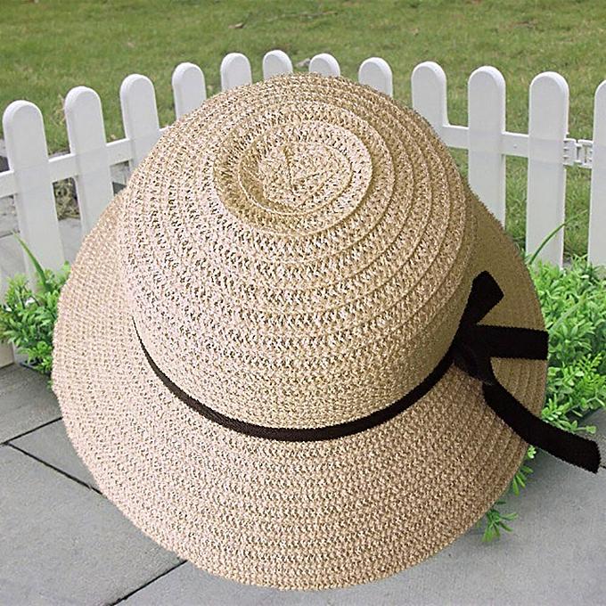 d5d74c4d2dc11f Generic Floppy Foldable Ladies Women Straw Beach Sun Summer Hat Beige Wide  Brim Breathable Cap Outdoor Beach Sunhat Drop Shipping 3.09(Beige)