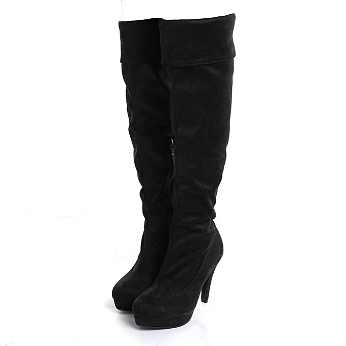 9aa4d1be70f8 Womens Stilettos Thigh High Slouch Over The Knee Shoes Leg Suede Boots  Cosplay black