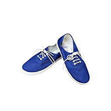 Blue Lace Up Women's Canvas Shoes