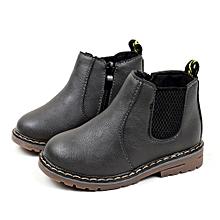 Children Fashion Boys Girls Martin Sneaker Boots Kids Baby Casual Shoes- Gray