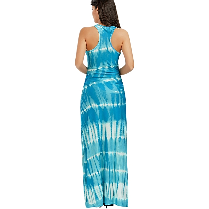 702a19ecf4 ... Fashion Leadsmart Bohemian Tie-Dye Illusion Print Racerback Long Tank  Dress ...