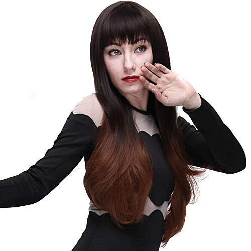 Generic Full Bangs Slightly Curly Long Hair Wigs Natural Black Brown  Gradient Color for Women e1975724e3