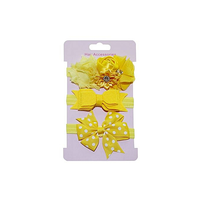 0c9ed2027e0 Braveayong 3Pcs Kids Elastic Floral Headband Hair Girls Baby Bowknot  Hairband Set -Yellow