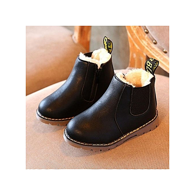 dce39c62f37d4a bluerdream-Kids Boys Girls Winter Snow Warm Ankle Boots Zipper Child  Chelsea Shoes -Black