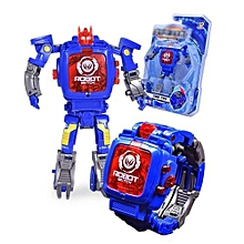 Creative Manual Transformation Robot Toys Children Electronic Watch Intelligence Development Deformed Robot Toy Style:blue Square Lid - blue