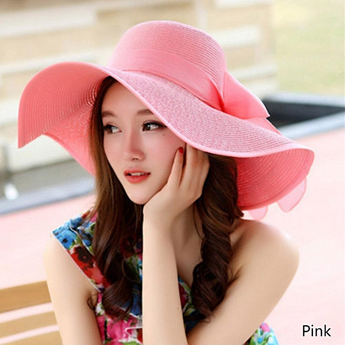 6288f0836 Women Foldable Wide Large Brim Summer Beach Sun Hat Pink