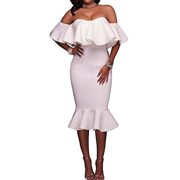 ebd33168afba Generic Women Elegant Off Shoulder Frill Hip Slim Sexy Dress--White ...