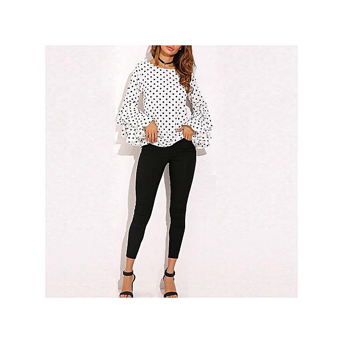 1e5012769bd019 Hiaojbk Store Fashion Women s Bell Sleeve Loose Polka Dot Shirt Ladies  Casual Blouse Tops-White