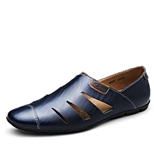 Men Moccasins Genuine Leather Casual Shoes (Blue)