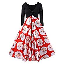 Christmas Plus Size Santa Claus Print Midi Dress