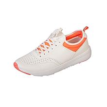 Casual Active Shoes - White With Luminous Orange Trim