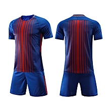 Customized Men's World Cup Football Soccer Team Training Sports Jersey Set-Blue Strip