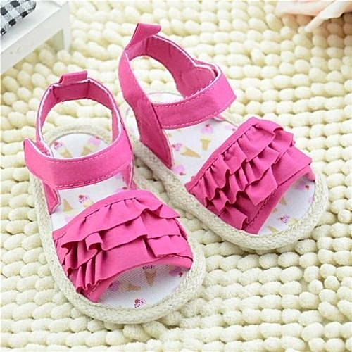 Generic bluerdream-Baby Sandals Fold Printing Soft Sole Toddler Shoes Hot  Pink 12-As Shown