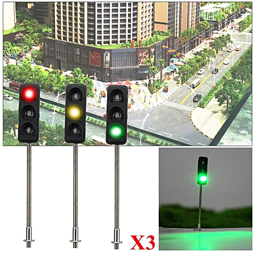 3x 50mm HO / OO Model 3-Light Traffic Lights Signal Architecture Street  Train