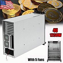 6 GPU + 5 Fans Open Air Bitcoin Mining Rig Rack Frame Case Box 5 Fans PC