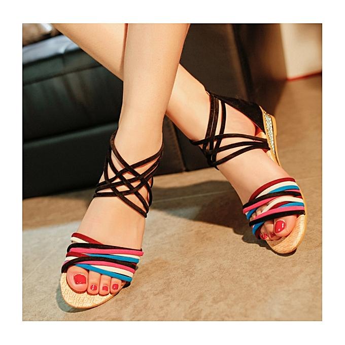 85b4e8e8a Generic Women Summer Slippers Flat Sandals Beach Thong Shoes - Black ...
