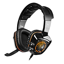 Somic G910 USB Gaming Headset 7.1 Surround Sound Vibration for Game Player with LED Light-BLACK