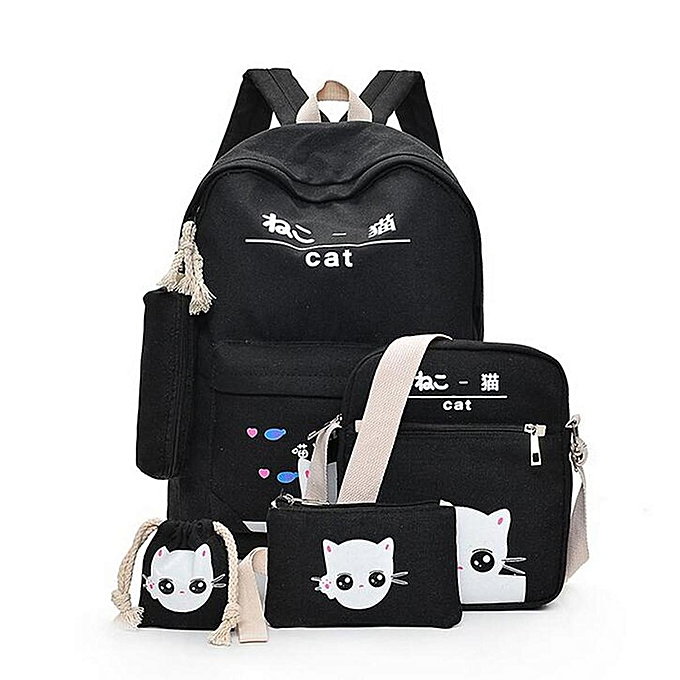 ebc7d38e0c8 Fashion 5Pcs Women Backpack Girl School Bookbag Shoulder Bag Rucksack  Travel Bag 4 Set Kids Canvas Backpack For Student Cute Elephant School Bag  ...