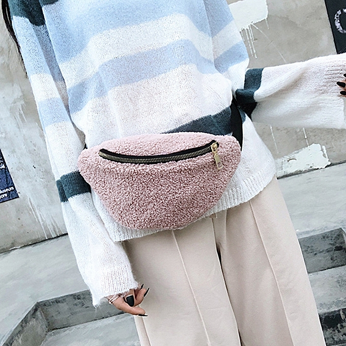 37e40cce34a7 Women Fleece Waist Bags Leopard Solid Color Fanny Pack Money Waist Pouch  Travel Chest Crossbody Shoulder