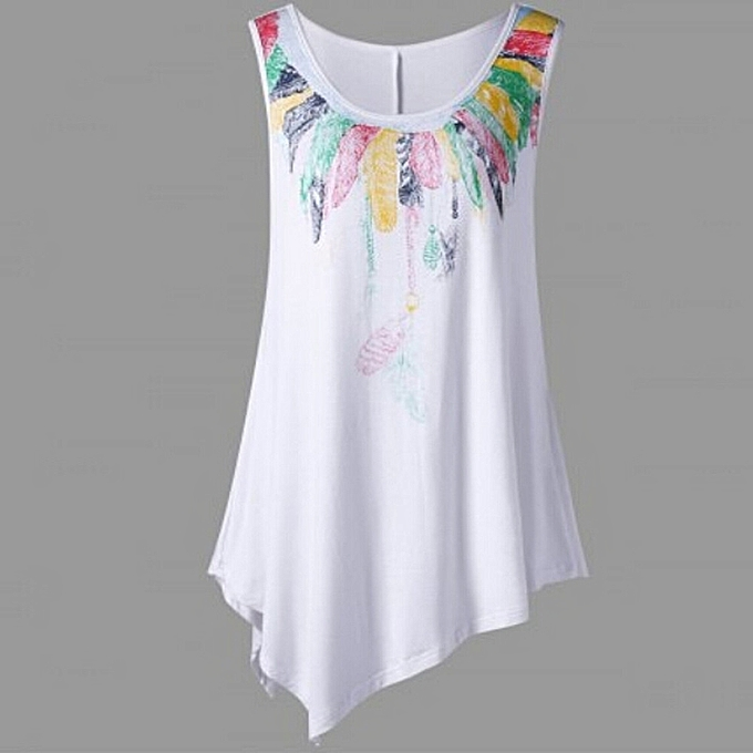 35e436317bc48c ... Hiamok Women Loose Leisure Plus Size Feather Print Asymmetric  Sleeveless Tunic Vest Top