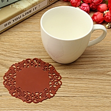 Coffee New Hot Beautiful Silicone Coasters Random 6 Pack Color Round Drink Coasters Lace Stain Resistant Placemat