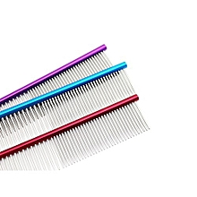 16cm High Quality Pet Comb Professional Steel Grooming Comb Cleaning Brush -Purple