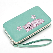 Women Lovely Cat Pattern Daily Phone Bag 3 Layer Long Wallet Card Holder Purse