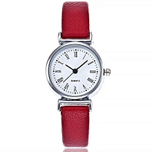 Lady  Leather Wrist Watch Vansvar Vansvar Women's Casual Quartz Leather Band Newv Strap Watch Analog Wrist Watch-Red