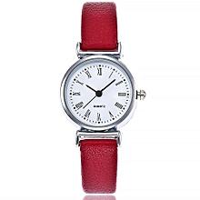 Lady  Leather Wrist Watch Vansvar Vansvar Women's Casual Quartz Leather Band Newv Strap Watch Analog Wrist Watch-Red
