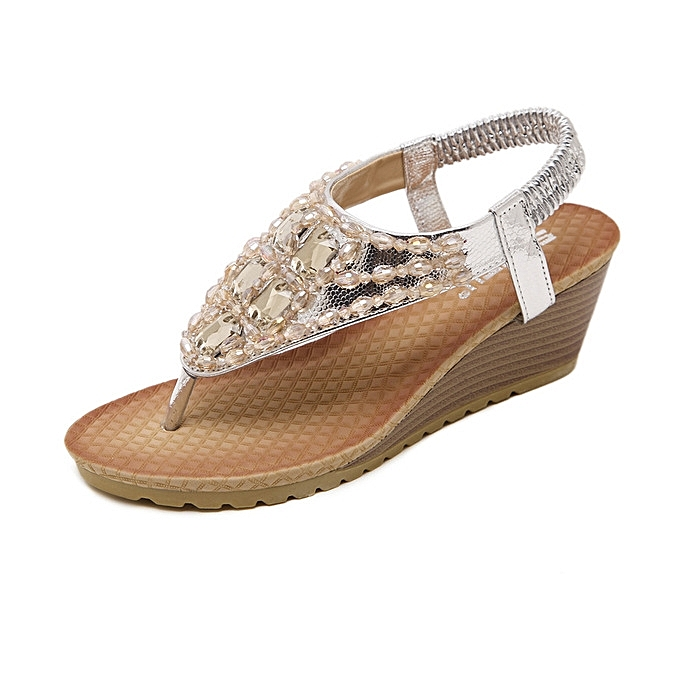 d3bbd59484b7 Great Large Size Bohemian wedge sandals rhinestone flip flops women s  sandals-silver