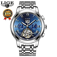 LIGE Brand Skeleton Mechanical Watch Men Hollow Fashion Luxury Stainless Steel Men Automatic Watch Male Clock Relogio Masculino 9813