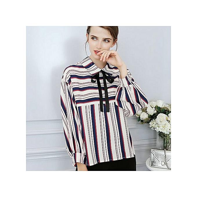 f918e3ee27c8 New Slim Casual Tops Fashion Shirt Long Sleeve Large Size Base Chiffon Shirt -multi