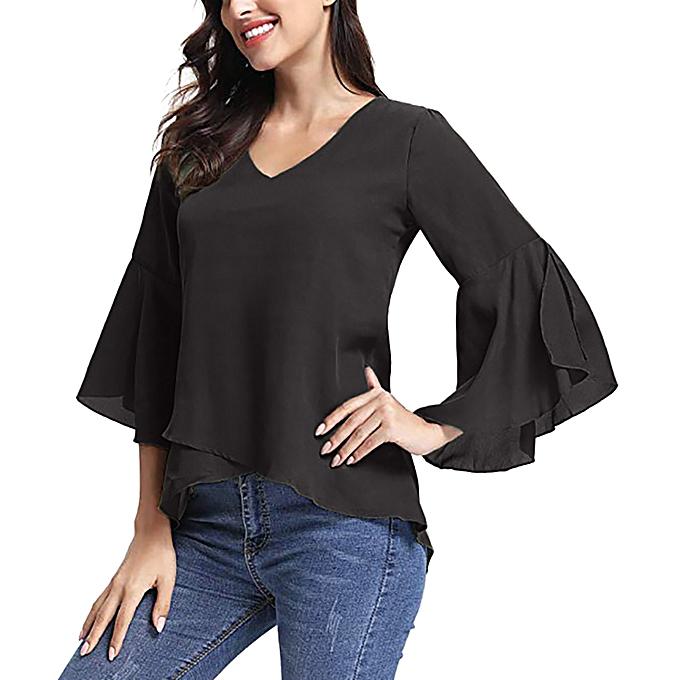 e8aa292eda6075 Women Summer V-Neck Bell Sleeve Solid Chiffon Tunic Tops Blouse Shirt