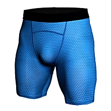 Summer Men Compression Cycling Shorts Sports Running Bermuda Shorts Fitness Gym Cossfit Bodybuilding Training Tights Workout Shorts - blue