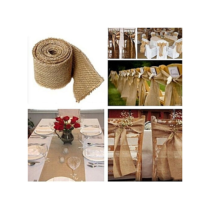 Buy Fashion 1pcs 3m Natural Burlap Ribbon Rustic Wedding Decoration