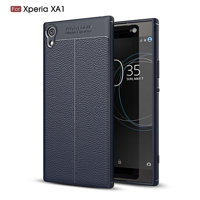 watch 28717 ffd98 PU Leather Litchi Pattern Case For Sony Xperia XA1 Soft TPU Silicone Back  Cover For Sony XA1 G3121 G3112 G3123 G3116 Case Cover (Dark blue)