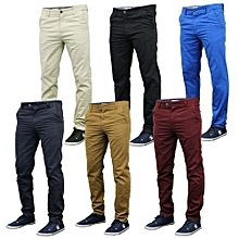 6 Pack Khaki Pants Mens - Slim Fit Chinos Trouser - off-white, Blue, Beige, navy blue ,Black & maroon Pants for Men+free pair of socks