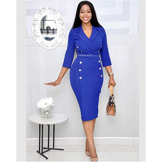 Bodycon Woman Office Dress 3 4 Sleeve Midi Dress Party Cocktail Evening  Dress with Belt d662cba42cff